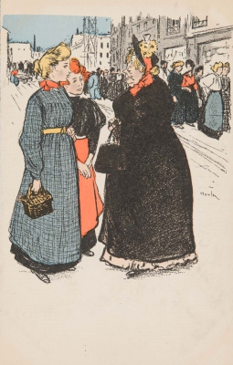 Theophile-Alexander Steinlen. Two young girls talking with an elderly lady