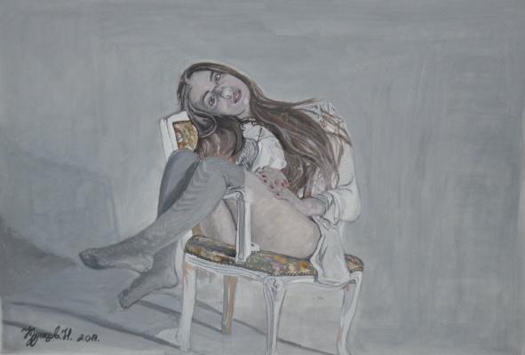 Kuznetsov.N. The girl on the chair.