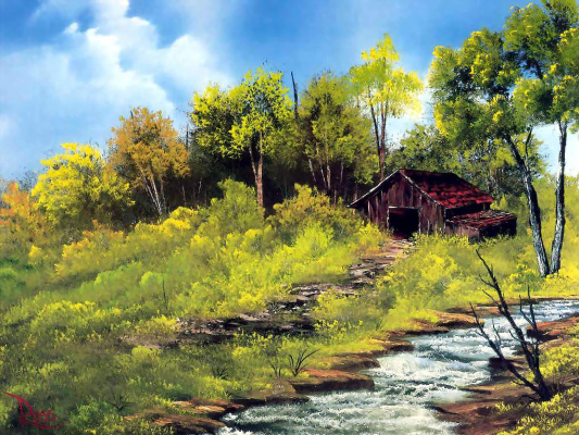 Bob Ross. Meadow stream