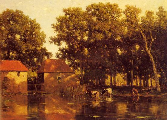 Виллем Рулофс. Солнечная речной пейзаж с коровами