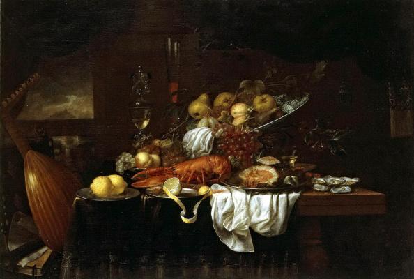 Йорис ван Сон. Омар, устрицы и фрукты на столе