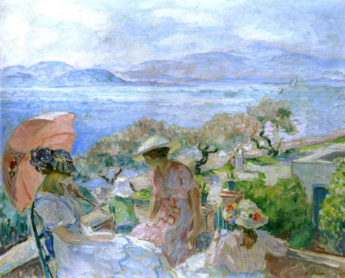 Henri Lebasque. On the terrace by the sea in Sainte Maxime