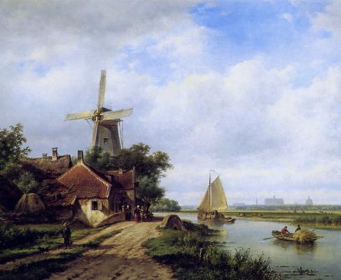 Лодевик Йоханнес Клейн. Деревня на повороте реки
