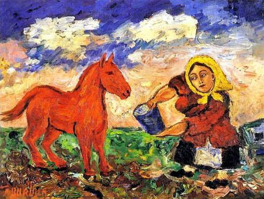 Давид Давидович Бурлюк. Крестьянка и лошадь