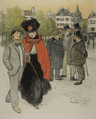 Theophile-Alexander Steinlen. The men looked at the strolling couple