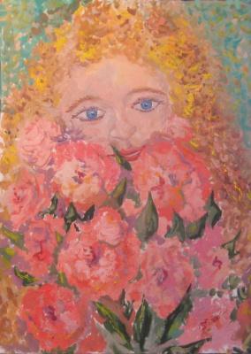 Pavel Markovich Osherov. Girl with flowers
