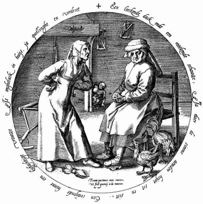 Pieter Bruegel The Elder. A quarrelsome wife is unhappiness in the house. Tondo