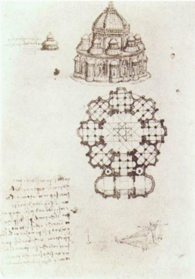 Leonardo da Vinci. A sketch of the Central part of the Church