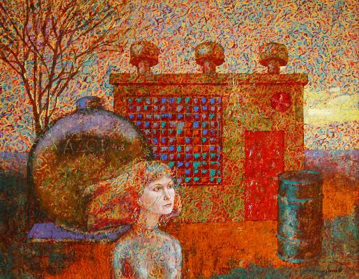 Алексей Петрович Акиндинов. Expectation. Portrait of Elena - the artist's wife.