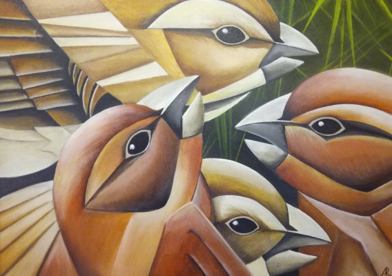 Artem Vladimirovich Kozlov. Sparrows in the nest