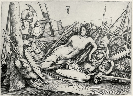 Jacopo de Barbary. The goddess of victory among the trophies