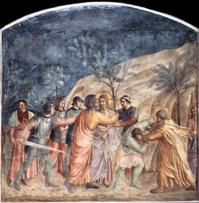 Fra Beato Angelico. Taking Christ into custody and kissing Judas. Fresco of the Monastery of San Marco, Florence