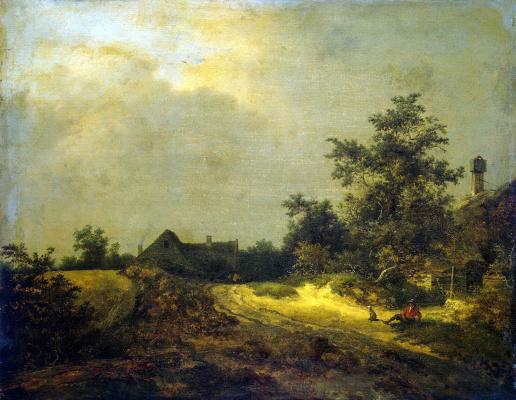 Jakob van Isaacs Ruisdael. Peasant houses in the dunes