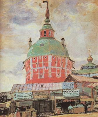 Boris Mikhailovich Kustodiev. Red tower of Troitse-Sergieva Lavra