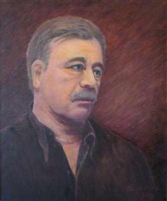 """Alexander Fedorovich Vazhnev. The author is A.F. Vazhnev. """"PORTRAIT OF A.S. FEDOROV"""". 2019, 60х50, oil / canvas. Moscow - N. Novgorod"""
