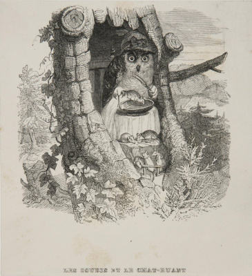 Jean Inias Isidore (Gerard) Granville. Owl and Mouse