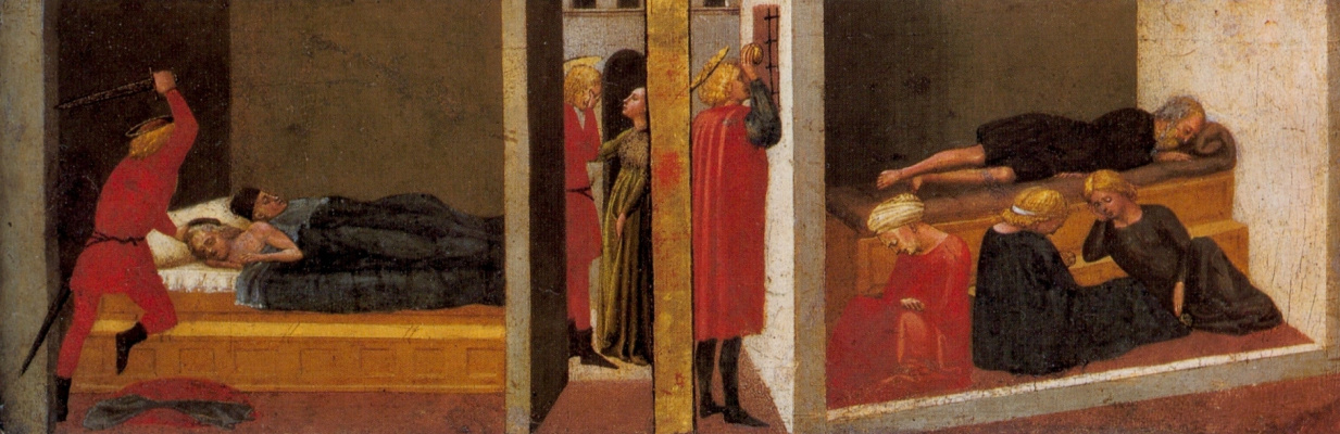 Tommaso Masaccio. Scenes from the life of St. Julian and St. Nicholas. Pizansky polyptych