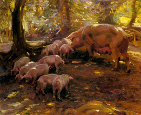 Альфред Джеймс Маннингс. Свиньи в лесу
