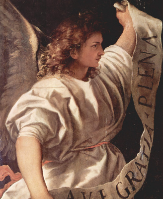 Titian Vecelli. The Altar Of Averoldi. Snippet: the angel of the Annunciation