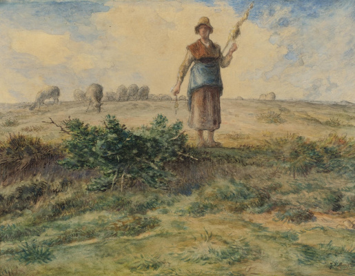 Jean-François Millet. Shepherdess and herd