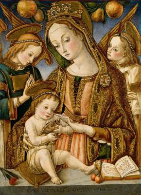 Витторе  Кривелли. Мадонна с Младенцем и двумя ангелами