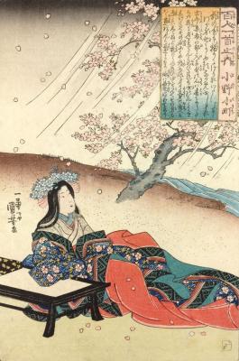"""Утагава Куниёси. Оно-но Комати. Оно-но Комати сидит за письменным столом, наблюдая за разлетающимися по ветру лепестками цветущей вишни. Серия """"Сто стихотворений ста поэтов"""""""