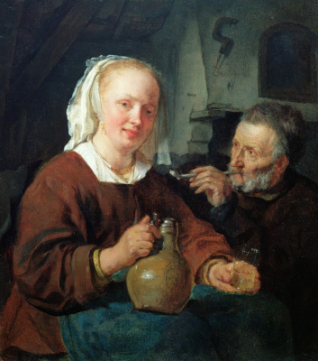 Gabrielle Metsu. A woman with a pitcher and a man with a pipe