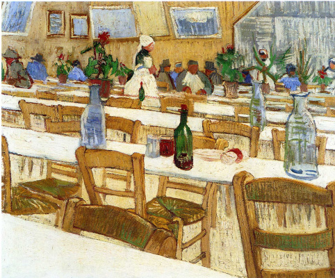 Vincent van Gogh. The interior of the restaurant Carrel in Arles