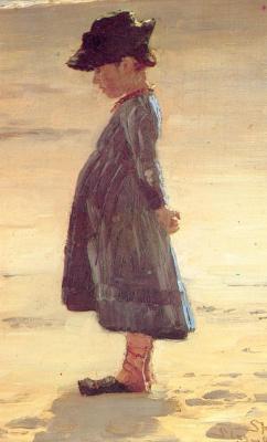 Peder Severin Kreyer. Little girl standing on the South beach of Skagen