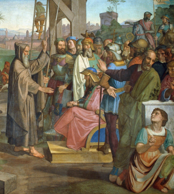 Johann Friedrich Overbeck. Frescoes of Villa Massimo, Tasso Hall - Peter Amiens appoints Godfrey of Bouillon as leader of the Christian army preparing to attack Jerusalem detail