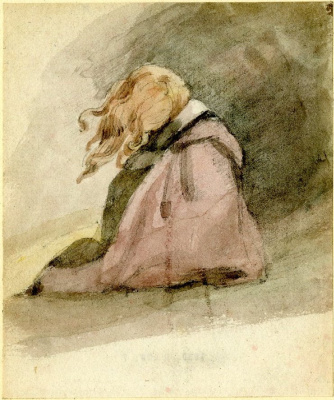 John Constable. Seated girl with flowing hair