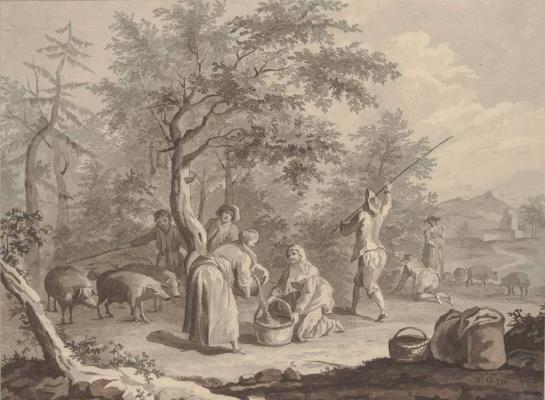 Томас Гейнсборо. Фруктовый сад: сцена с крестьянами и пастухом