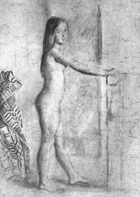Balthus (Balthasar Klossovsky de Rola). Standing profile nude