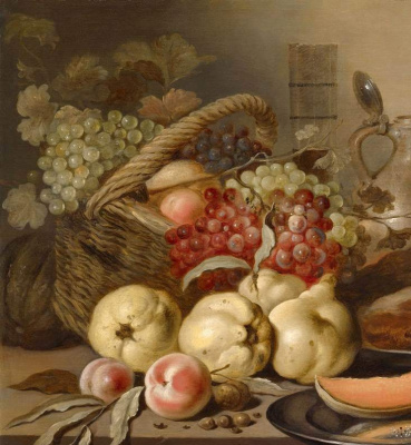 Питер Клас. Натюрморт с фруктами, хлебом и бокалом. Фрагмент. Виноград и айва