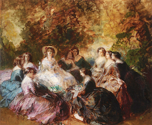 Franz Xaver Winterhalter. Empress Eugenie (Eugenie de Montijo) with their ladies. Sketch