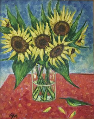 Alexander Dik. Sonnenblumen im Glas