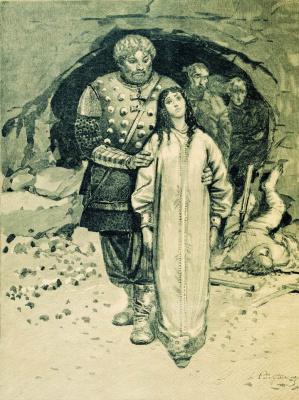 """Andrei Petrovich Ryabushkin. Nikitich. 1895 Illustration for the book """"Russian epic warriors"""""""