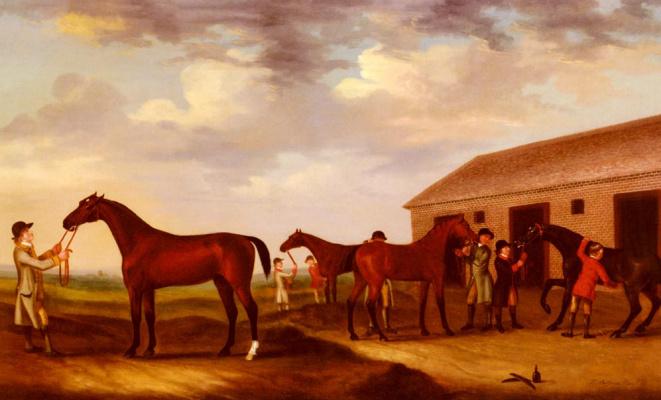 Фрэнсис Сарториус. Четыре скаковых лошадей за пределами шлифовки дома Ньюмаркет