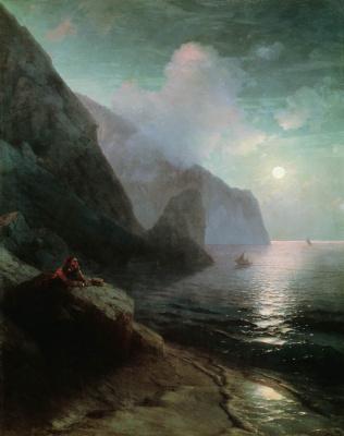 Ivan Aivazovsky. A. S. Pushkin in Crimea at Gurzuf rocks