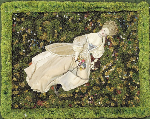 Constantin Somov. The lady with the dog, resting on the lawn