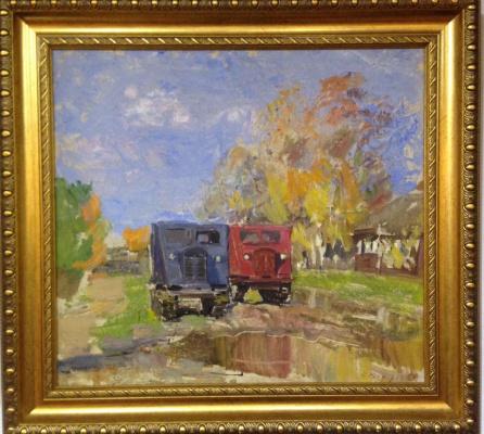 "Vyacheslav Andreevich Fedorov. ""The tractor.Autumn day"",1969.,K./M.,50х55"