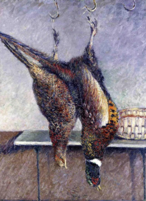 Gustave Caillebotte. Two hanging pheasants