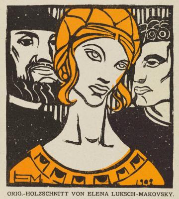 Elena Konstantinovna Luksh-Makovskaya. Original engraving in the exhibition catalog of the XIV Vienna Secession