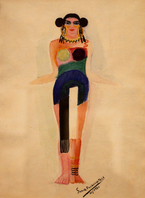 "Sonia Delaunay. Costume of Amnesia for the opera ""Aida"""