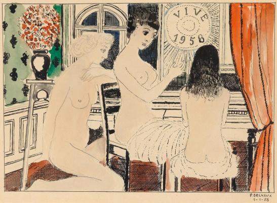 Paul Delvaux Belgium 1897-1994. Vive. 1958