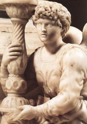 Michelangelo Buonarroti. Angel with candlestick. Fragment