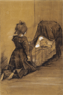 Vincent van Gogh. The girl knelt in front of the cradle