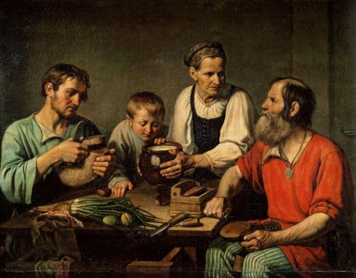 Федор Григорьевич Солнцев. Крестьянское семейство перед обедом