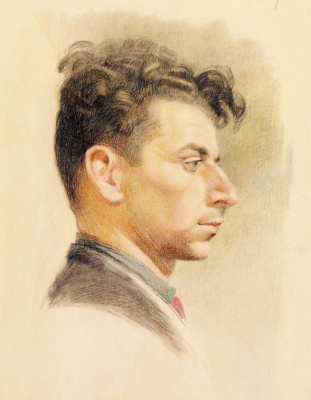 "Нина Ивановна Гаврилова. ""Портрет юноши"",1951г.,цв.кар/бум., 35х25"