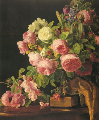 Ferdinand Georg Waldmüller. A bouquet of roses